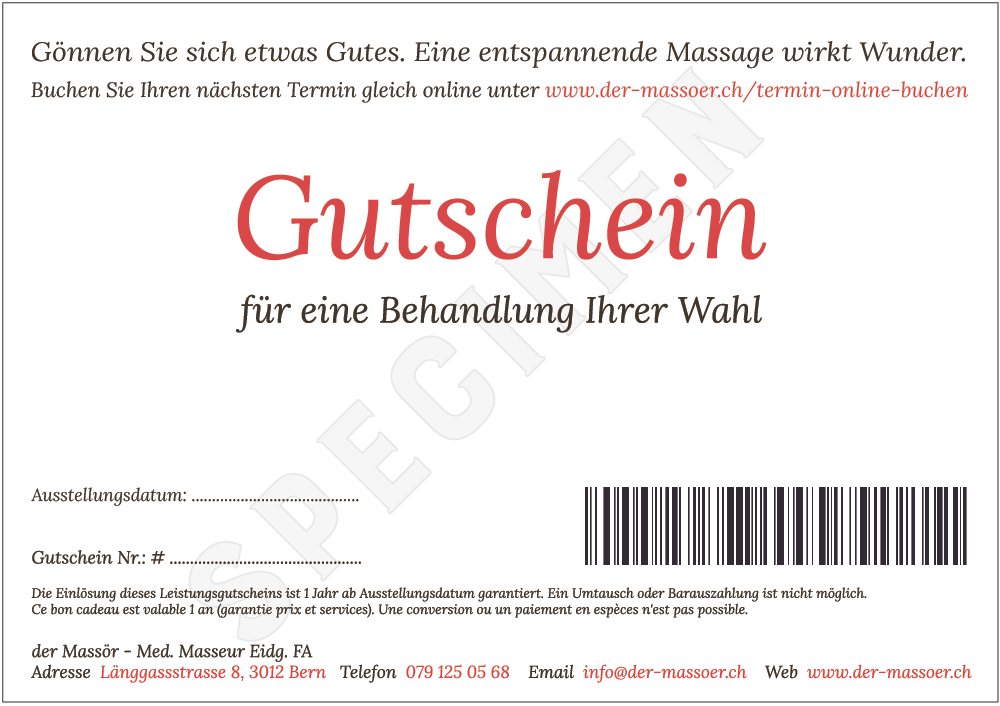 Massage Gutschein Back Specimen - der Massör